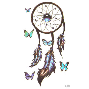 Romantic Dreamcatcher Temporary Tattoo sticker Feather Tattoo Decals Body Art Waterproof Paper fake tattoo flash tattoo