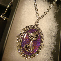 Small Cat Necklace -Antique Silver Pink/Purple Galaxy Glitter (2255)