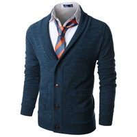 Doublju Mens Ribbed Shawl Collar Sweater Cardigan KMOCAL029