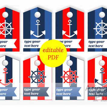 nautical hang tags, editable PDF, printable, striped gift tag, red, blue, colors, type your text, instant download