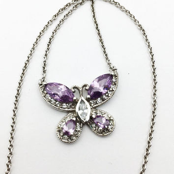 Sterling Silver Butterfly Pendant Necklace Vintage 1980s 1990s Purple & Clear Rhinestones 925 Jewelry February June Birthday Gift for Her