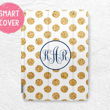 Personalized iPad Smart Cover, gold glitter print polka dots Monogram custom name case for iPad mini, iPad Mini 2 retina, iPad Mini 3