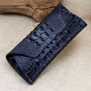 Shiny Alligator Printed Black Leather Clutch. Black Crocodile Leather Long Wallet. Ladies Leather Purse