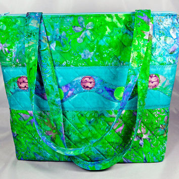 Handmade Quilted Tote, Large Purse, Carry On Bag in Green, Purple, Blue Batik Fabric