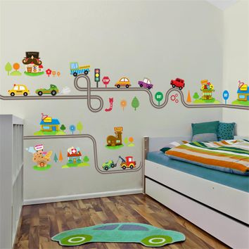New Highway Track Wall Stickers For Kids Baby Nursery Sticker Children's Play Room Bedroom Decor Wall Art Decals