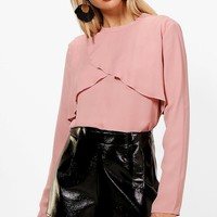 Evelyn Wrap Front Floaty Woven Top | Boohoo