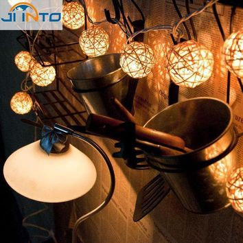 CREYONHS christmas decoration Wedding Party String Lights 20pcs White Thailand Style Hand Weaved Rattan String Ball Lantern Xmas Bal