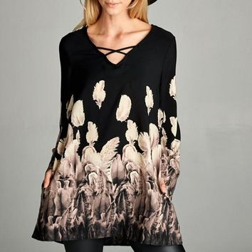 Long bell Sleeved Loose Fit V-neck