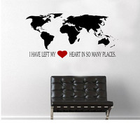World Map with quote Wall Decal