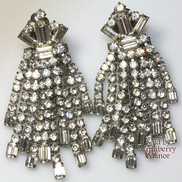 Weiss Earrings, Double Layer Crystal Rhinestone Dangle Drop Wedding Accessories Vintage 1940s Bride Bridal Fashion Designer Costume Jewelry