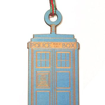 British Police Box Laser Engraved Blue Finished Wooden Christmas Tree Ornament Gift Seasonal Decoration