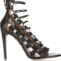 Aquazzura - Amazon lace-up elaphe sandals