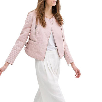 Pink Collarless Biker Jacket