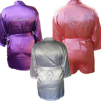 SATIN Bridal Robes Silk Bridesmaid Robe Gift Shower Personalized set of 3 set of 4 Pink ~ Fuchsia ~ aqua~ Coral Navy ~ Purple coral ivory