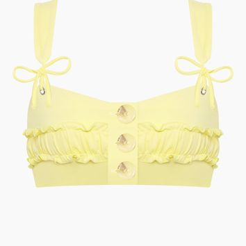 Rae Button Up Bikini Top - Yellow