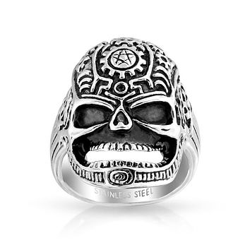 Day Of Dead Caribbean Pirate Skull Head Signet Ring Stainless Steel
