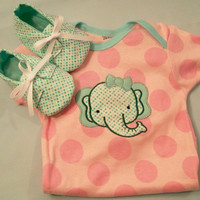 Baby Girls Bodysuit and Tiny Aqua Dot Shoes, Embroidered Elephant Bodysuit , Baby Shower Gift  #47