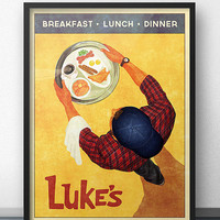 Luke's Diner - Vintage Retro Style Poster Inspired by Gilmore Girls