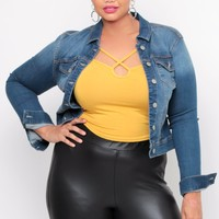 Plus Size Stretch Denim Jacket - Medium Wash