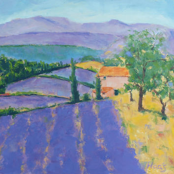 LAVENDER FIELDS, FRANCE - 12 x 12 - Original Oil Painting - French Lavender - Honeystreasures - Wall Art - Home Decor - Purple - Landscape