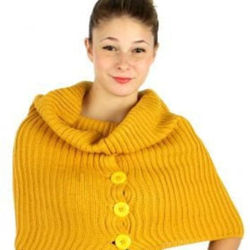 CHRISTMAS GIFT for her Christmas Gift for him Unisex Buttoned Turtle Neck Knit Warmer Scarf Sweater