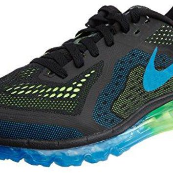 Nike Mens Air Max 2014 Running Shoes - Black/Photo Blue/Electric Green (8.5)