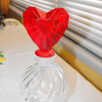 Vintage Teleflora Swirl Glass Perfume Bottle with a Red Venus Mikasa Hearts Stopper / Gift Under 25