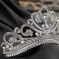 princess tiara crown , tiaras for wedding , crystal silver tiara hand made for order inlaid with SWAROVSKI  Crystals and rhinestones,
