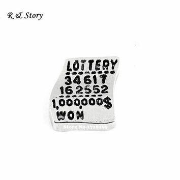 Free Shipping !! Lottery ticket charm memory locket floating locket lottery charm LFC_1078