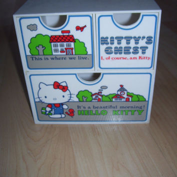 Vintage 1976 Sanrio Hello Kitty Storage Box Cube for Jewelry Rare Kittys Chest
