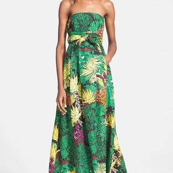 Women's Tracy Reese Cactus Flower Print Strapless Gown,