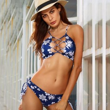 Women Fashion Floral Tie Dye Multicolor Print Crisscross Hollow Bikini Set Swimsuit Swimwear