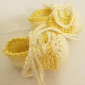 Yellow Saddle Oxfords-Booties-shoes-Crochet--Baby Shower Gift---#306