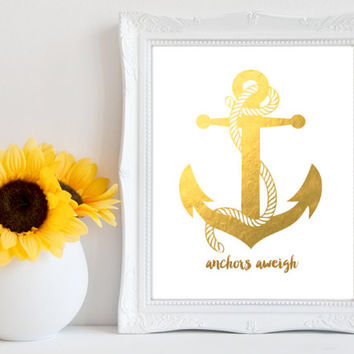 Printable Anchor Print - Gold - Anchors Aweigh