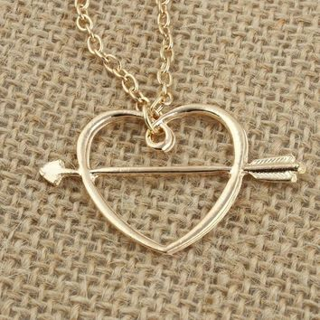 Fashion Ron Weasley's love Horcrux an arrow to the heart gold color pendant necklace for men and women arrow heart necklace
