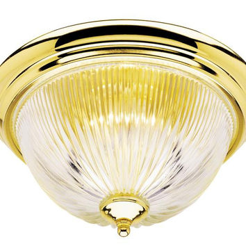One-Light Indoor Flush-Mount Ceiling Fixture, Polished Brass Finish with Crystal Ribbed Glass