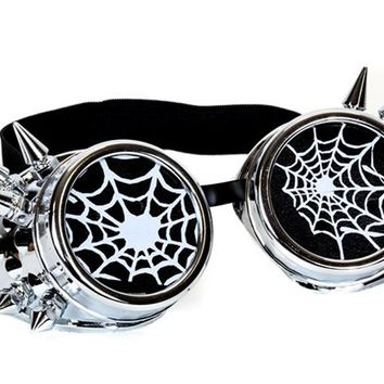 Silver Goggles with White Spiderwebs Cobwebs & Spikes Goth Cyber Cosplay