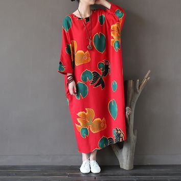 Cotton Linen O-neck Plus big size Print Dress Women Autumn New Loose Casual Fish Print Long Dress Red Blue Vestidos Femme A127
