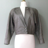 80's Buttery Soft Grey Cropped Leather Jacket
