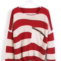 Red  Stripes Loose Sweater with Pocket$30.00