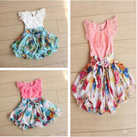 EMS/DHL/FEDEX/UPS Free Fast Shipping 2015 Baby Girl Summer Dress Chiffon Lace Short sleeves Floral TuTu Dresses Cute Girls Dress.