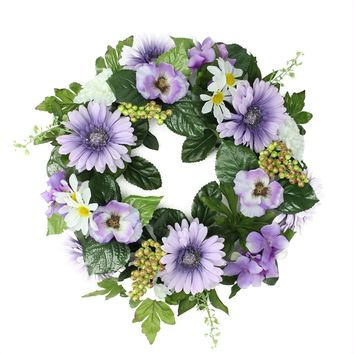"18"" Decorative Purple and Green Gerbera Daisy and Pansy Flowers Artificial Spring Floral Wreath"