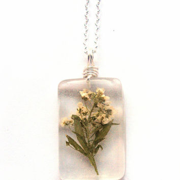 Real Alyssum Necklace - Real White Flowers Encased in Resin - Pressed Flower Jewelry - Resin Necklace - Wire Wrapped Pendant