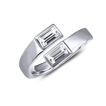 Lafonn Two-Stone Sterling Silver Platinum Plated Lassire Simulated Diamond Ring (0.4 CTTW)