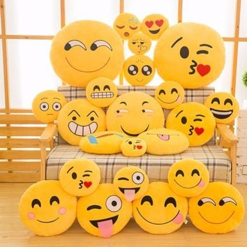 15CM Creative Emoji Pillow Soft Stuffed Plush Toy Doll Round Emoticon Cushion Room Bed Decoration #253729