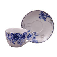 Blue Rose Teacups and Saucers Set of 6 with 6 Tea Cups & 6 Saucers Cheap price; elegant appearance!  $5.95 Flat Rate Shipping or add 1 set for FREE Shipping!
