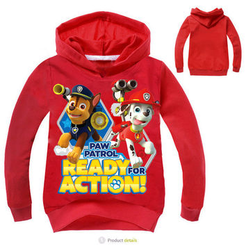 New Boys and Girls T Shirt Paw Patro dog Cotton Shirt Cartoon Patrol Dog Girl Kids Hooded T-shirts Children 4 colors Clothes