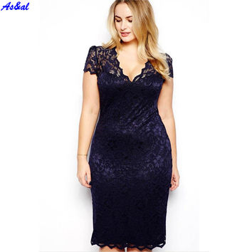 2017 Summer Women Bodycon Slim Lace Short Sleeve V Neck Plus Size Party Cocktail Mini Dress