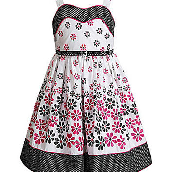 Sweet Heart Rose 2T-6X Sleeveless Floral Woven Dress - Pink/Multi