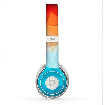 The Vector Abstract Shaped Blue-Orange Overlay Skin for the Beats by Dre Solo 2 Headphones